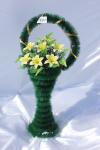 Корзина с лилиями v32, цвет: желтый