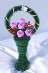 Корзина с розами v35, цвет: розово-красный